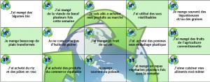 La damier de l'alimentation durable (plateau et cartes)